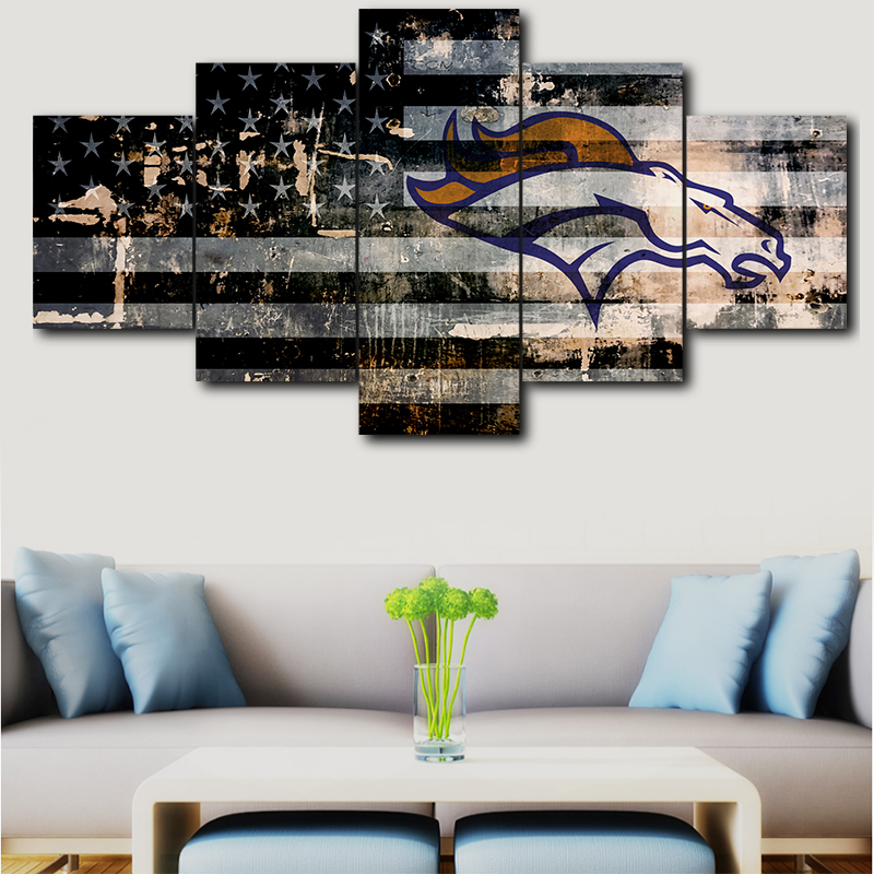 Us 6 0 50 Off 5 Pieces Of Hd Canvas Painting Denver Broncos Sport Logo Modern Poster Wall Home Decor Calligraph In