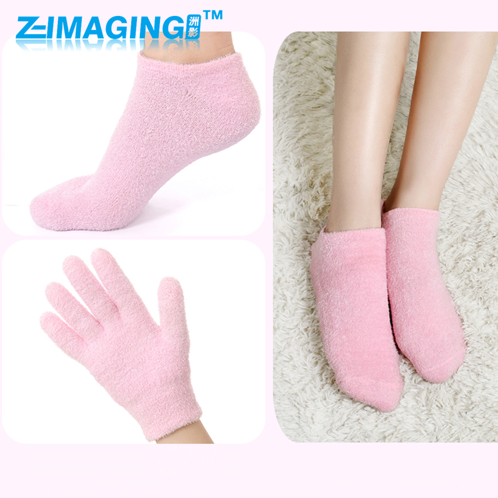 1 Pair of glove+socks  SPA Gel Moisturizing socks Whiten Soften Skin que soumit silicone moisturizing gel socks hard exfoliating skin spa full length with hole cracked foot skin care protect heel socks