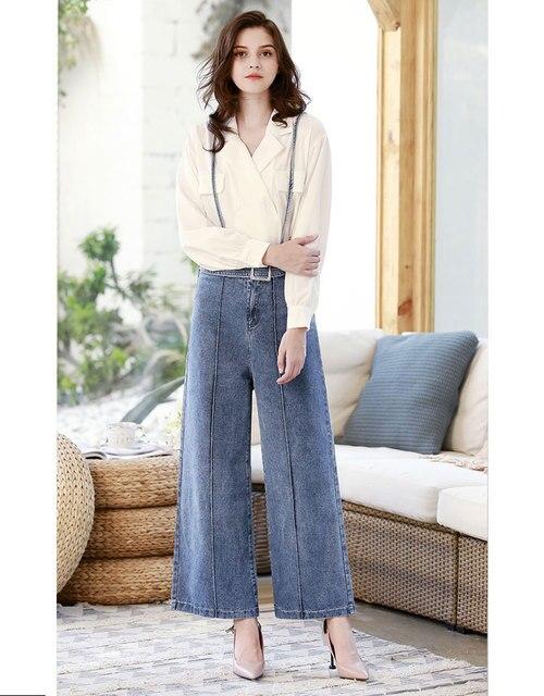 HEE GRAND джинсы с высокой талией женские брюки с широкими штанинами Весна 2019 женские джинсы с ремешками до щиколотки брюки женские брюки WKN583