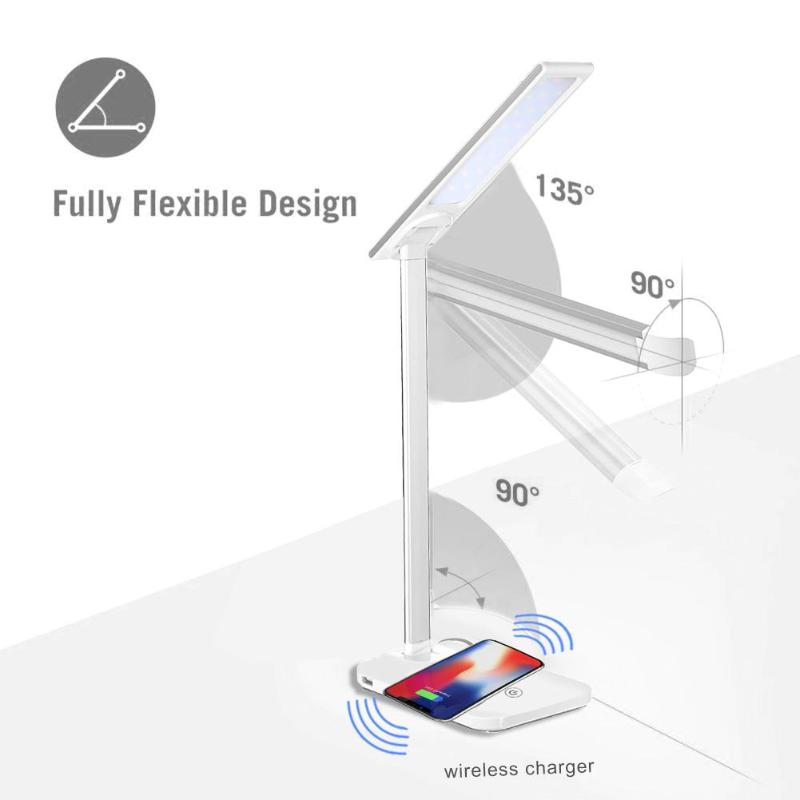 Folding Table Desk Lamp USB Rechargeable Dimmable 25LED Touch Desk Lamp Night Light Wireless Phone Charger for iPhone Samsung nillkin mc004 wireless charger phantom table lamp for smartphone