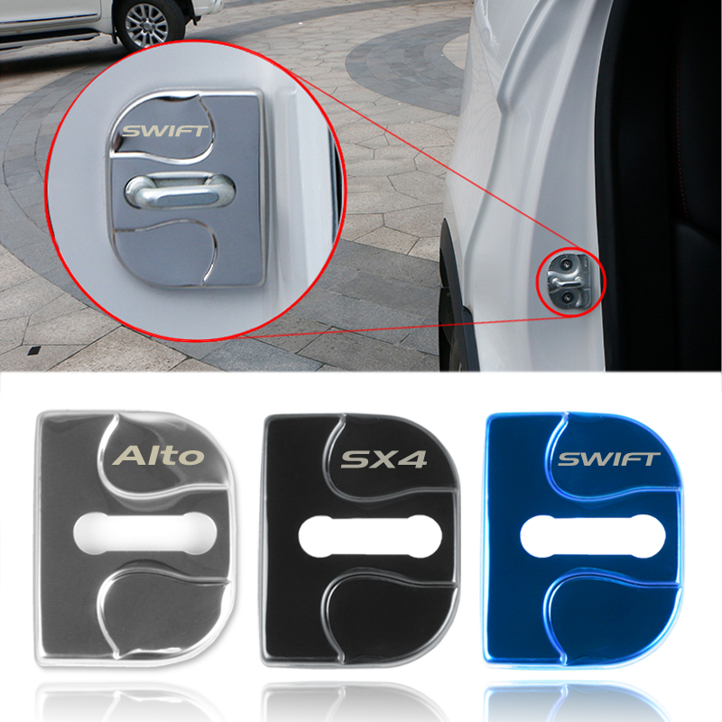 4pcs Car Door Lock Cover Case For Suzuki SWIFT SX4 Alto Decoration Car Sticker Auto Accessories