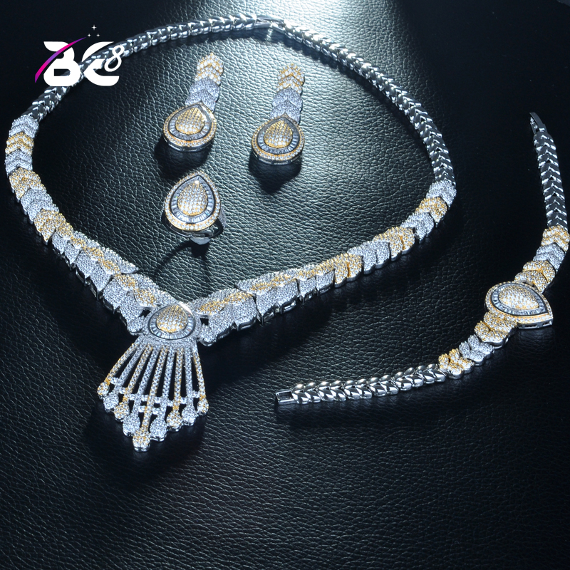 Be 8 High Quality Cubic Zirconia Wedding Jewellery Set Trendy Set Water Drop Shape Bridal Sets for Women Gift Bijoux Femme S267