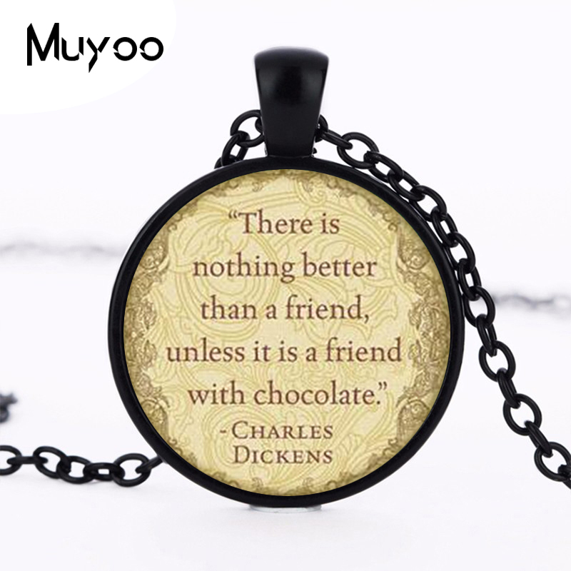 Charles Dickens Quotes Necklace Charles Dickens Quote Pendant Victorian England Jewelry Fashion 27MM Round Pendant Necklace