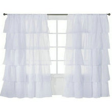 (Two Panels)Fashion Maiden Ruffle Style Rod-Pocket Sheer Voile tulle Window Curtains