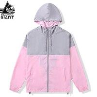 Beautiful Giant Men's Windproof Rain Resistant Pink Patchwork Rain Jacket