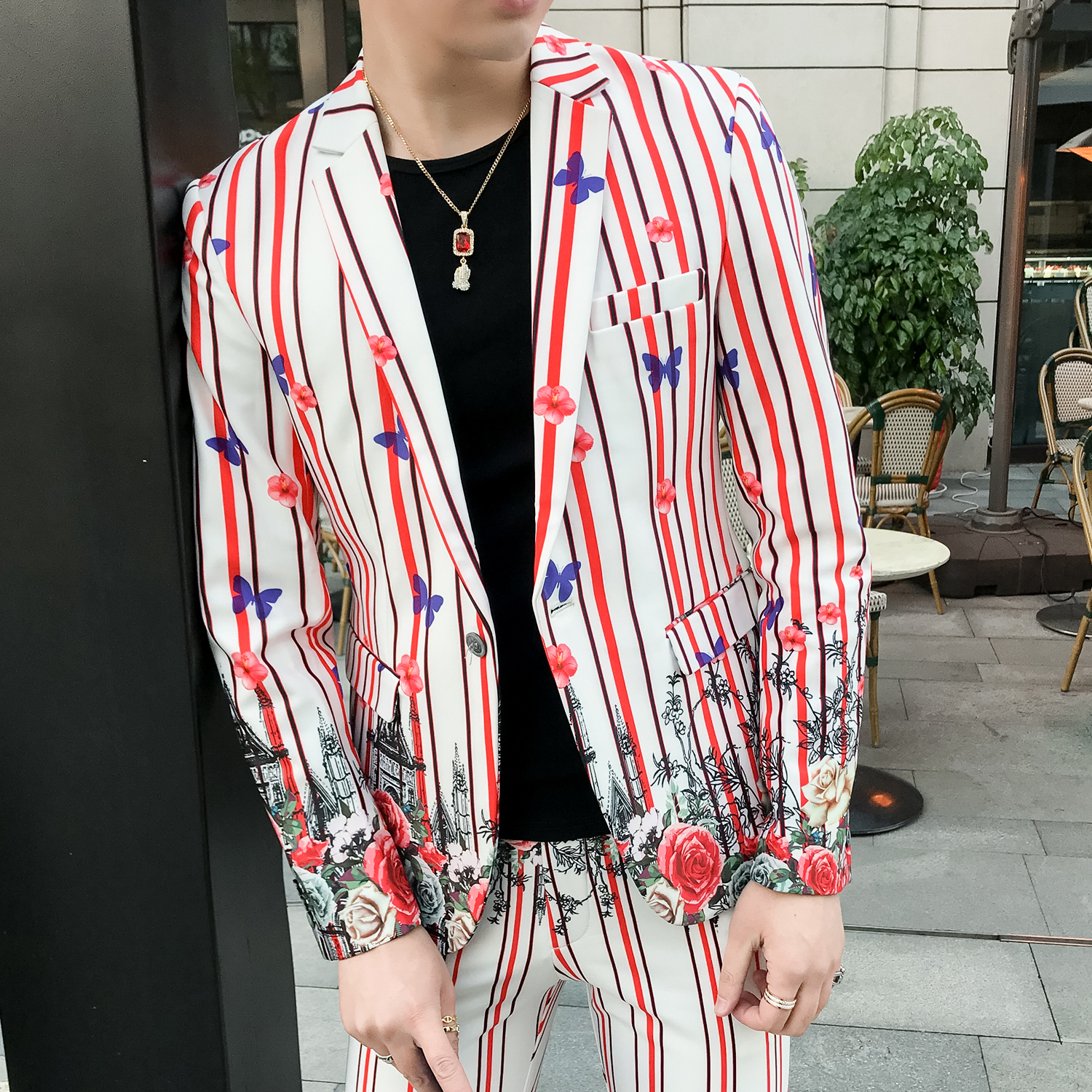 Flowers Suits Mens Summer 2019 Mens Pinstripe Suits Night Club Outfits Social Fancy Stage Costumes for Singers Men Korea Colthes