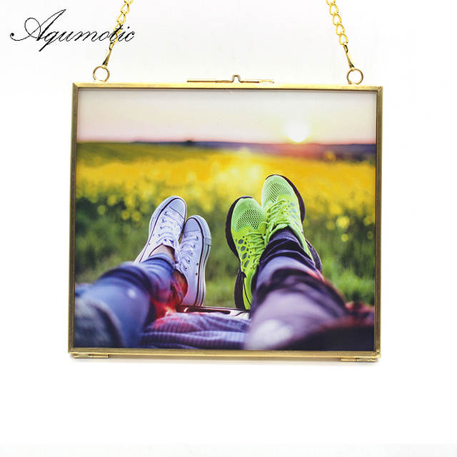placeholder Aqumotic Black Both Sides Picture Frames Gold Key Chain Square  Photo Frame Wall Sticker 1pc Line 99a59526b695