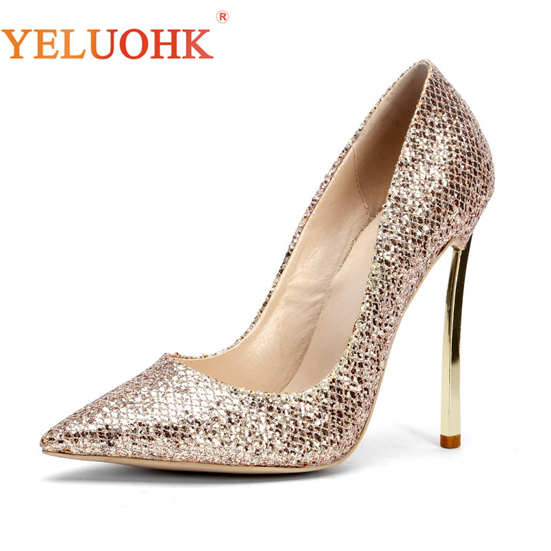 34-45 Extreme High Heels Sexy Shoes Women Heels Big Size Women Pumps 12 CM Spring Autumn Women Shoes Heels Gold