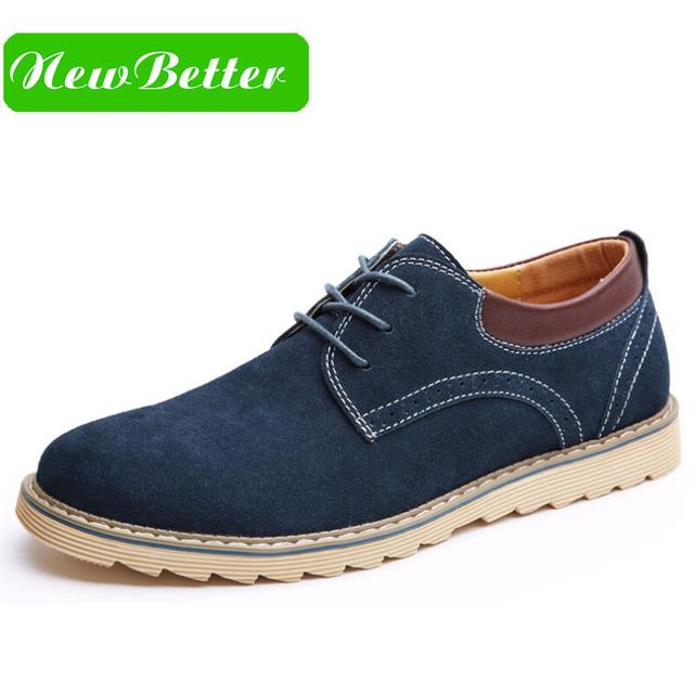 Zapatos casuales de cuero de gamuza hombres vestido negro azul sólido de la manera ata para arriba plataforma de hombre zapatos Oxford