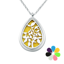 7 Free pads leaves water drop essential oil diffuser necklace 316l stainless steel perfume locket necklaces & pendants women men