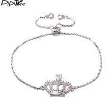 Pipitree Shiny CZ Zircon Crown Bracelet for Women Lady Copper White Gold Color Chian Adjustable Bracelets Wedding Jewelry Gift(China)