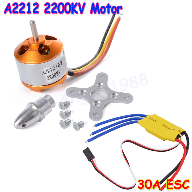 New  RC 2200KV  Brushless Motor A2212/6T + ESC 30A Brushless Motor Speed Controller +Free shipping 30a esc welding plug brushless electric speed control 4v 16v voltage