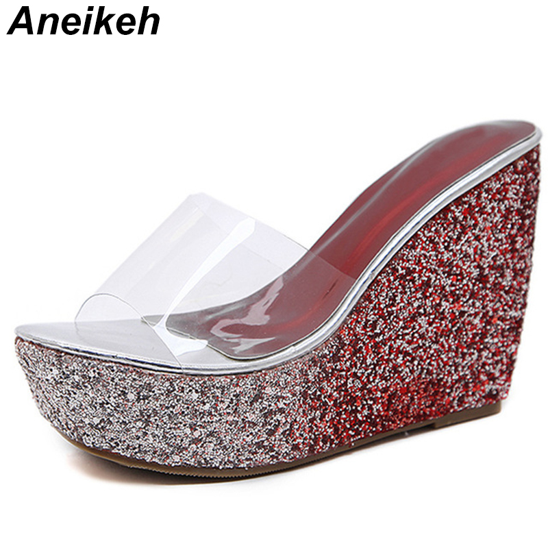 Aneikeh 2019 <font><b>Sexy</b></font> Fashion <font><b>Women</b></font> <font><b>Slippers</b></font> <font><b>Shoes</b></font> Beach Slides Platform <font><b>Wedges</b></font> <font><b>Slipper</b></font> PVC Outside Summer <font><b>High</b></font> <font><b>Heels</b></font> Sandals <font><b>Shoes</b></font> image