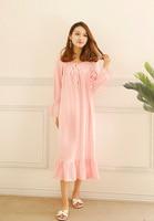 Spring Home Wear Nightshirt Women long Nightgown Royal Princess Cotton Sleepwear Adjustable Collar Long Sleeve Nightdress Pink