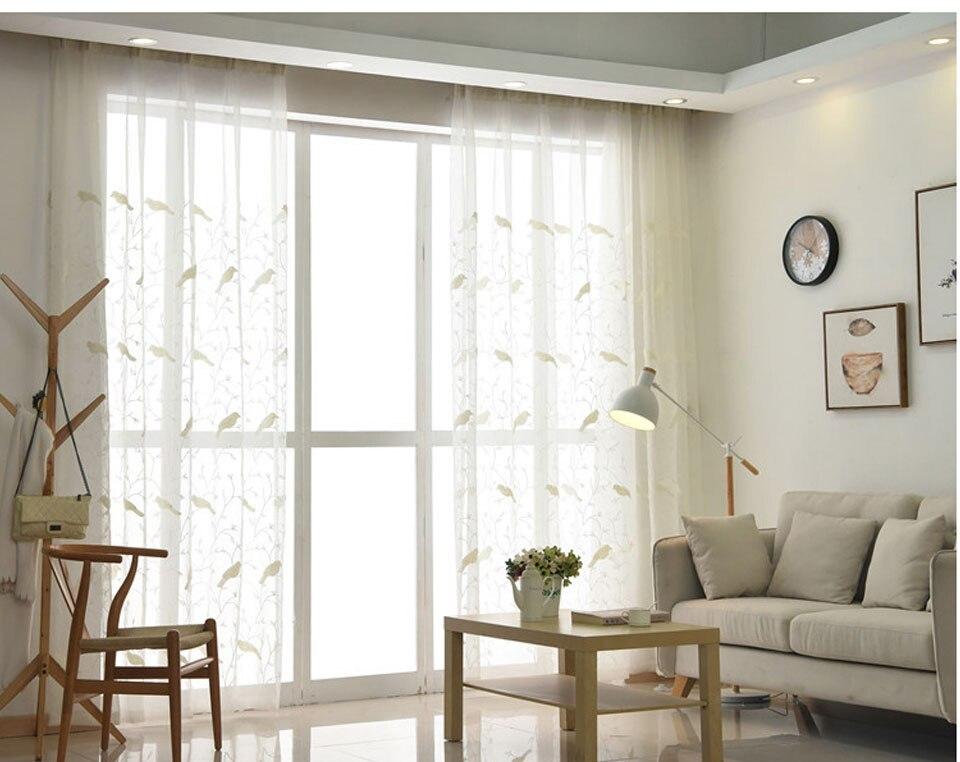 Pastorale stijl vogel geborduurde gordijnen woonkamer wit vitrages