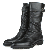 Fashion British black winter mens boots genuine leather high motorcycle with buckle