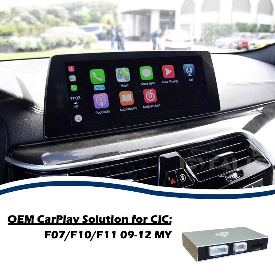 Aftermarket Apple Carplay 5 serie F07 F10 F11 CIC 2009-12 OEM di Apple Carplay Android Auto Retrofit per BMW con Videocamera vista posteriore