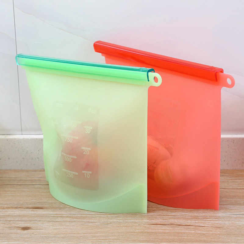 Silicone Food Storage Bags Reusable Fresh Bag Vacuum Sealer for Fruit Meat Milk Food silica gel plastic bag H99F