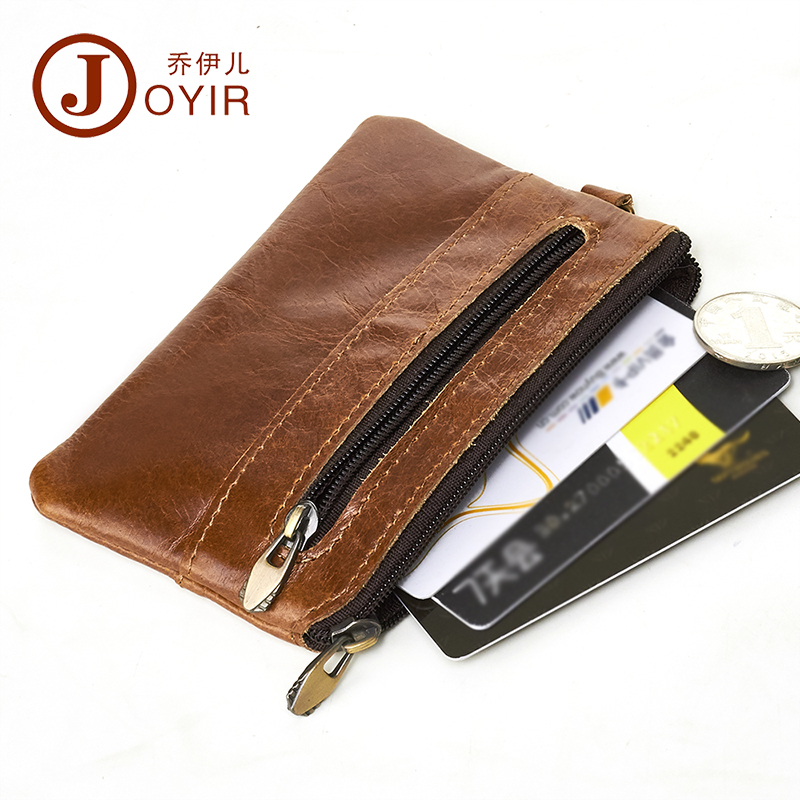 JOYIR Genuine Leather Slim Wallets Men Coin Purses Zipper Short Wallet Male Purse Card Key Holder Small Men Mini Wallet For Men