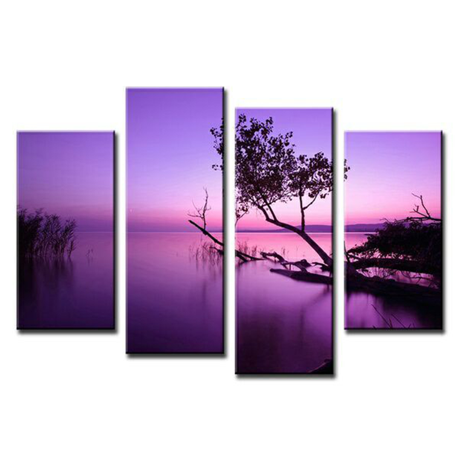 Aliexpress Com Buy 5 Panels Dusk Sunset Boat Printed: Online Buy Wholesale Purple Sunset From China Purple