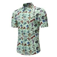 Men Fashions Men Shirt Summer Style Beach Hawaiian Casual Short Sleeve Hawaii Chemise Homme Asian Size