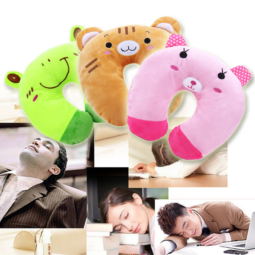 Lovely Comfortable Multi-Color Cartoon Animals U-Shaped Pillow Automatic Neck Support Head Rest Cushion Relaxing U-shaped Pillow