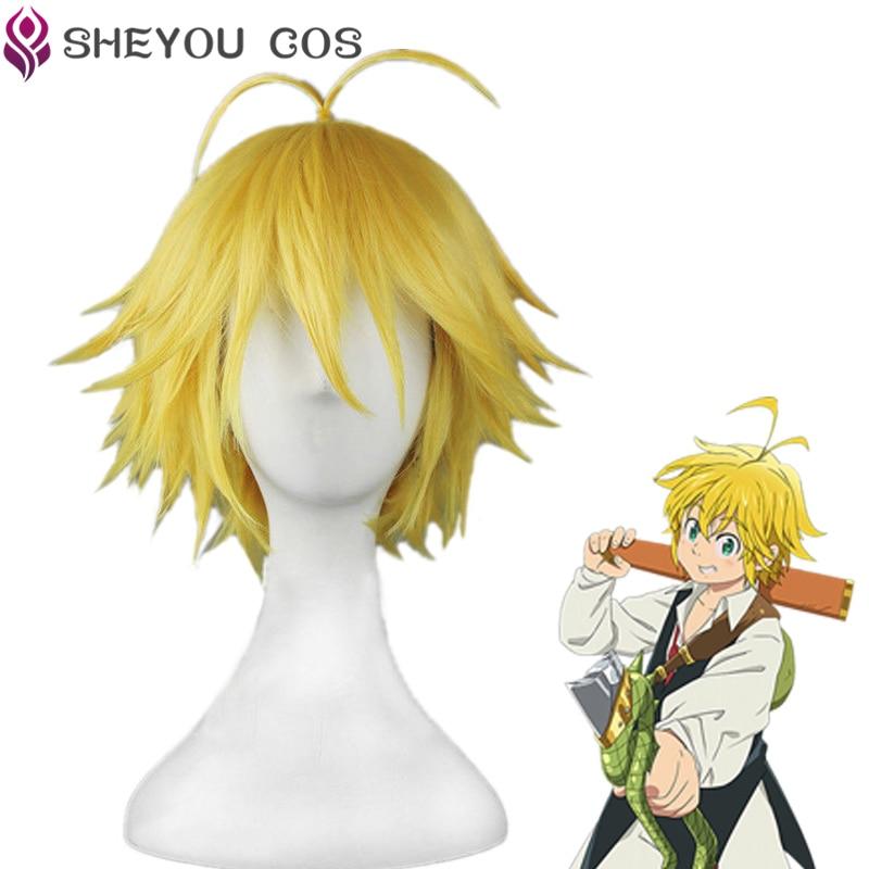 The Seven Deadly Sins Meliodas Cos Wig Dragon's Sin Of Wrath Golden Heat Resistant Hair Cosplay Wigs + Wig Cap