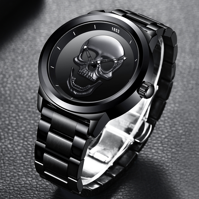 Image 2 - 2019 LIGE Brand Cool punk style Pirate Skeleton Skull Quartz Mens Watches Mesh Steel sports Black Watch Men Relogio Masculino-in Quartz Watches from Watches