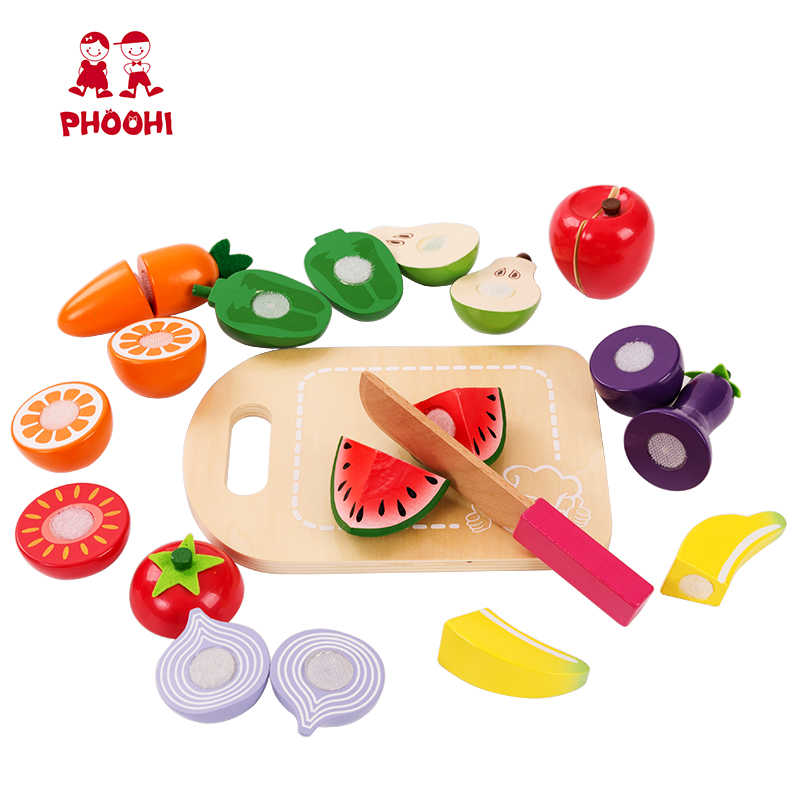 Kids Kitchen Accessories >> Kids Wooden Cutting Fruit Vegetable Toy Children Pretend Kitchen Accessories Food Play Game Toy Phoohi