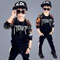 Мальчики комплект одежды хлопка 2 шт. мальчик костюм печати мальчик спортивный костюм кампус детская одежда подросток костюм шаровары длинные рукава