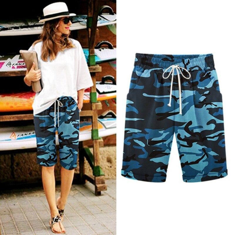 2019 Brand Women Camouflage Straight Harem Shorts Large Size Pocket Shorts Loose Casual Summer Outer Beach Wear Short Feminino