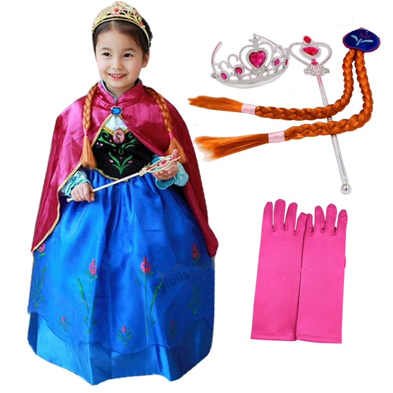 Girls Anna Dress Kids Anna Elsa Party Dresses Girls Children Costume Baby Child Clothing Dresses Princess Clothes Cosplay