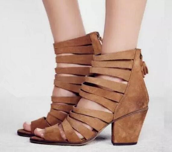 Blue/brown/black solid color sandals peep toe chunky heels ankle boots 2017 summer narrow band short boots gladiator sandal three band buckled slide sandal navy blue
