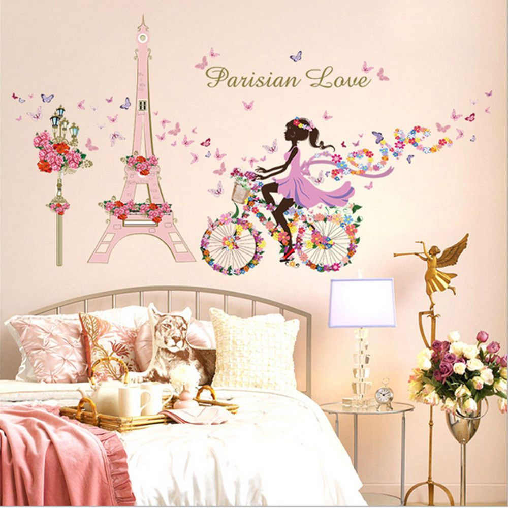 Girl Flower Butterflies Decal Art Mural Wall Sticker Removable Home Room Decor Childrens Gift Print Poster