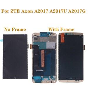Image 1 - מקורי עם מסגרת AMOLED מסך לzte Axon 7 A2017 A2017U A2017G LCD + מגע digitizer מסך oled תצוגת תיקון חלקי