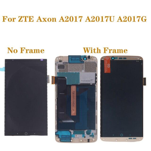 Original con marco de Pantalla AMOLED para ZTE Axon 7 A2017 A2017U A2017G LCD + Digitalizador de pantalla táctil piezas de reparación de pantalla oled
