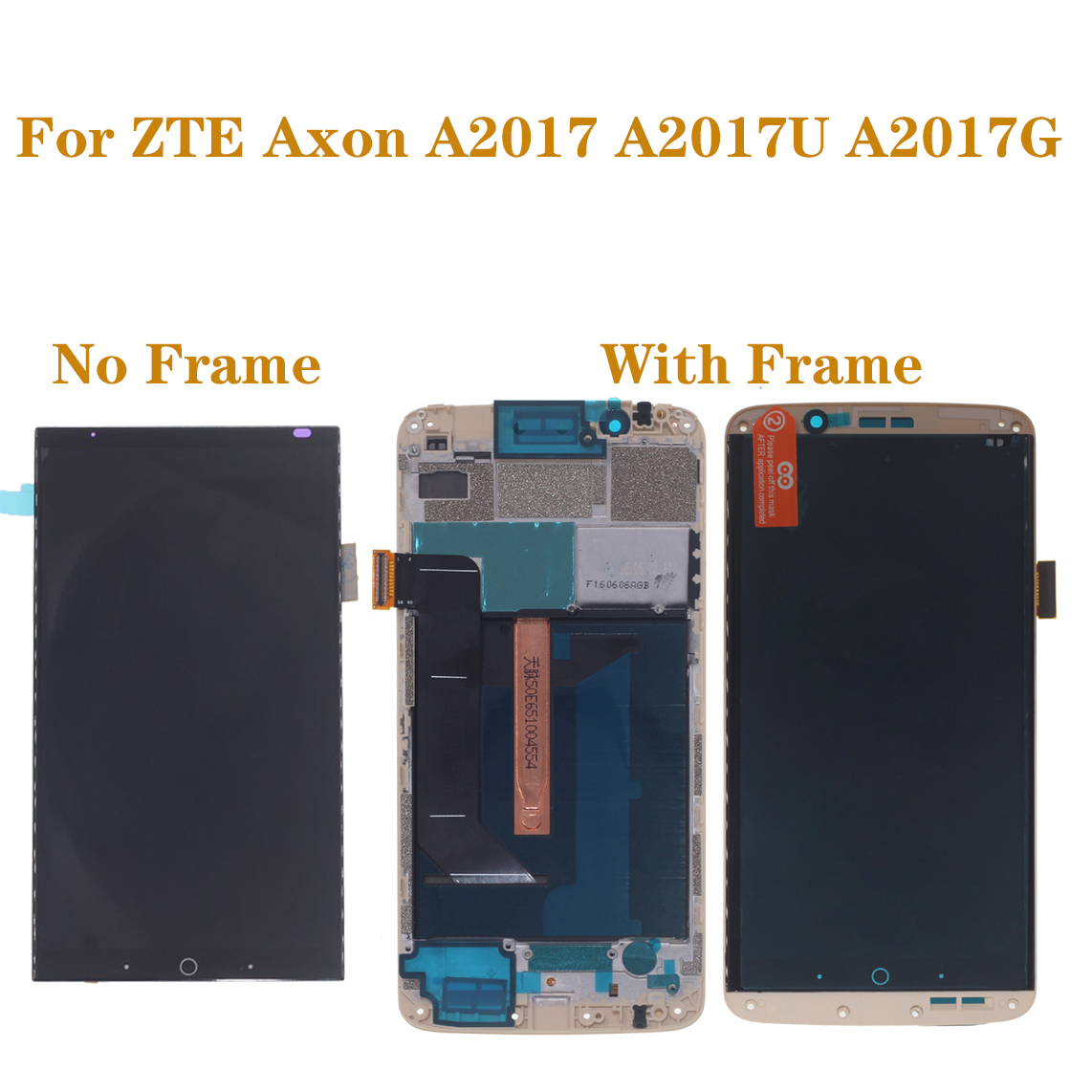 original with frame AMOLED screen for ZTE Axon 7 A2017 A2017U A2017G LCD+touch screen digitizer oled display repair parts-in Mobile Phone LCD Screens from Cellphones & Telecommunications