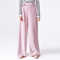 Trousers For Women Autumn European Pink Colour Concise Match Belt Easy Wide Leg Pants Leisure Time