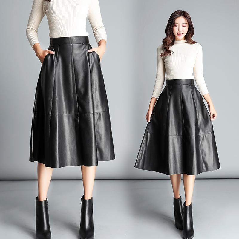 Autumn and winter new Korean fashion long black skirt female high waist was thin pleated skirt