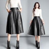 Autumn and winter new Korean fashion long black skirt female high waist was thin pleated skirt PU leather skirt