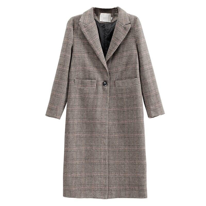 Nouvelle Manteau Plus Carreaux Longue no Mode De Cotton Femelle Cotton Poule 2018 À Chemise Laine Épaississement Section qPAq8r