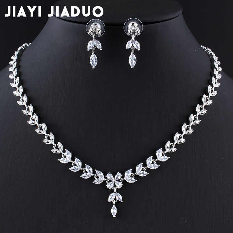 jiayijiaduo 2017 Wedding jewelry sets Bridal Necklace set for Women Exquisite green zircon jewelry set Silver color engagement