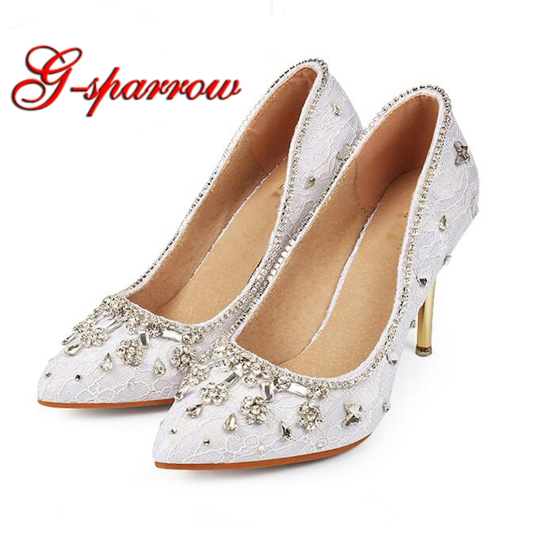 Promotion Price Elegant Pointed Toe Women Wedding Dress Shoes White Lace Rhinestone Prom Party High Heels Stilettos Bride Shoes цена 2017