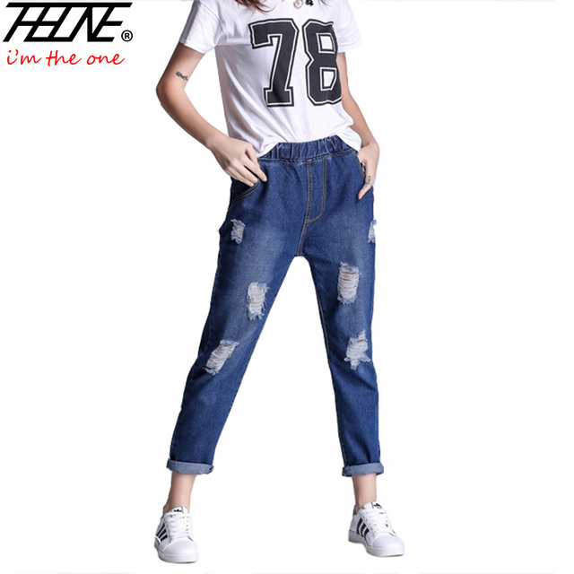 Brand Jeans Women Denim Pants Casual Trousers Elastic Waist Plus Size 5XL Torn Loost Fit Holes High Waist Ripped Jeans Female