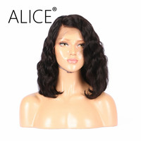 ALICE 150 Density Brazilian Short Lace Front Human Hair Wigs With Baby Hair Short Bob Lace Wig Remy Hair For Black Women