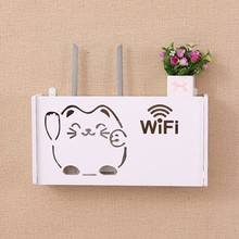 Wifi Router Storage Box For Wall Shelf Wireless Basket Wood Home Decor Container Cable Plug Floating Rack
