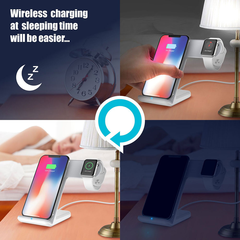 Image 5 - Portefeuille For Apple Watch 4 3 2 Charger Dock QI Wireless Charging Stand Holder For iPhone X 8 Plus XS Max XR 11 Pro 8plus-in Phone Holders & Stands from Cellphones & Telecommunications