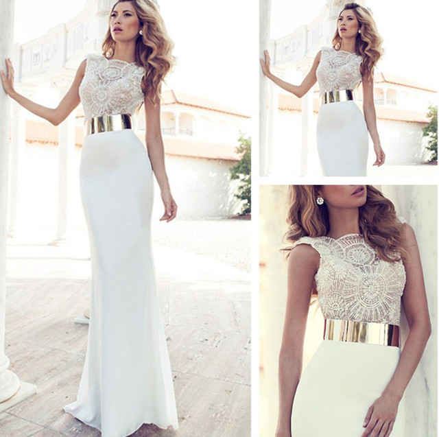 aabea554892 Wholesale Embroidery Beaded Gold Metal Belt Chiffon Scalloped Julie Wedding  Dresses Designer Special Occasion Dress Multi Color