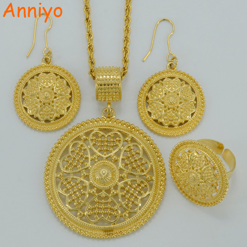 Anniyo New Arrivals Necklace Earrings Ring Africa Sets Ethiopian Jewelry  Gold Color Eritrea Habesha Wedding Gifts