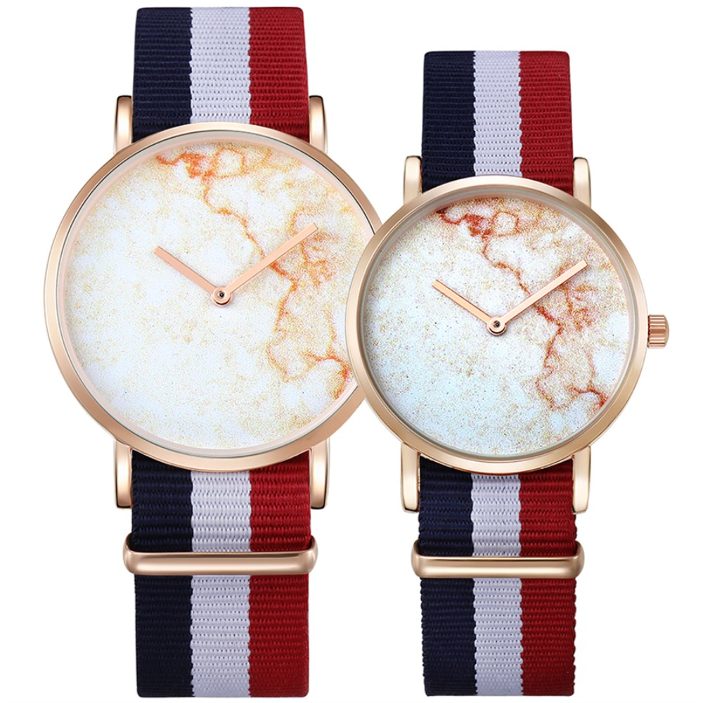 CAGARNY Men Watch Casual Nylon Strap Bracelet Gold Wristwatch Fashion Gifts For Lovers Male Quartz Clock Female Couple Watches